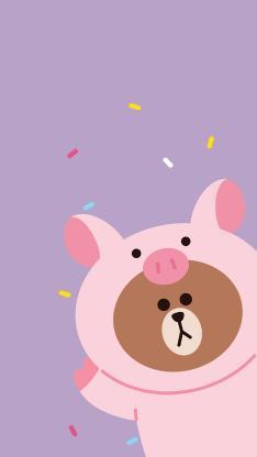 布朗熊 猪 linefriends 卡通 可爱 紫色
