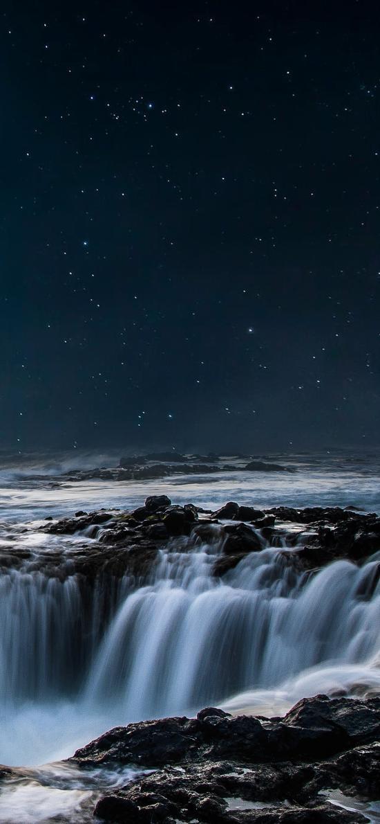 瀑布 流水 星空 夜空