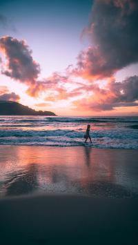 海边 夕阳 黄昏 浪花