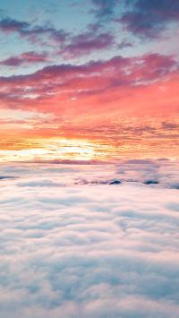 夕阳 黄昏 云海 高空 渐变 唯美
