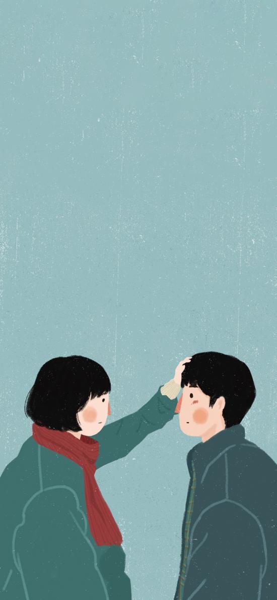 情侣 爱情 后来的我们 摸头 章小漆插画
