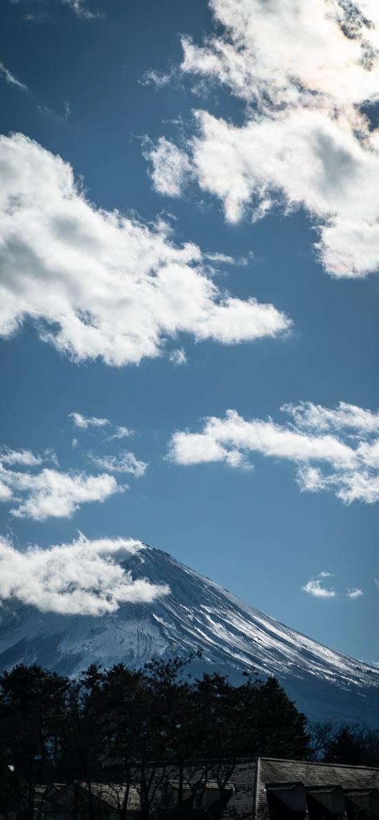 蓝天 高山 白云 远眺