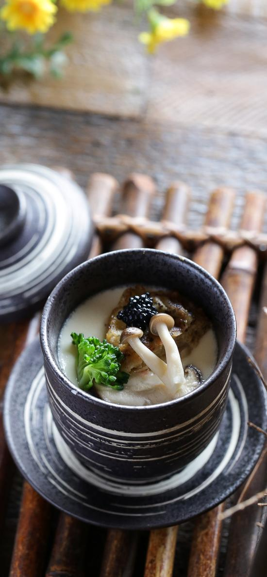 日式 美食 松露 蒸蛋 菌菇