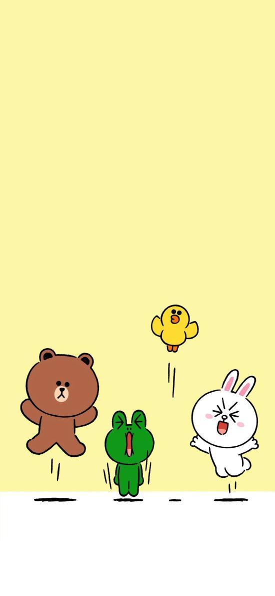 linefriends 布朗熊 可妮兔 萨莉鸡 青蛙 黄色