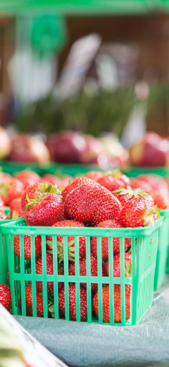草莓 塑料筐 水果 果实 新鲜
