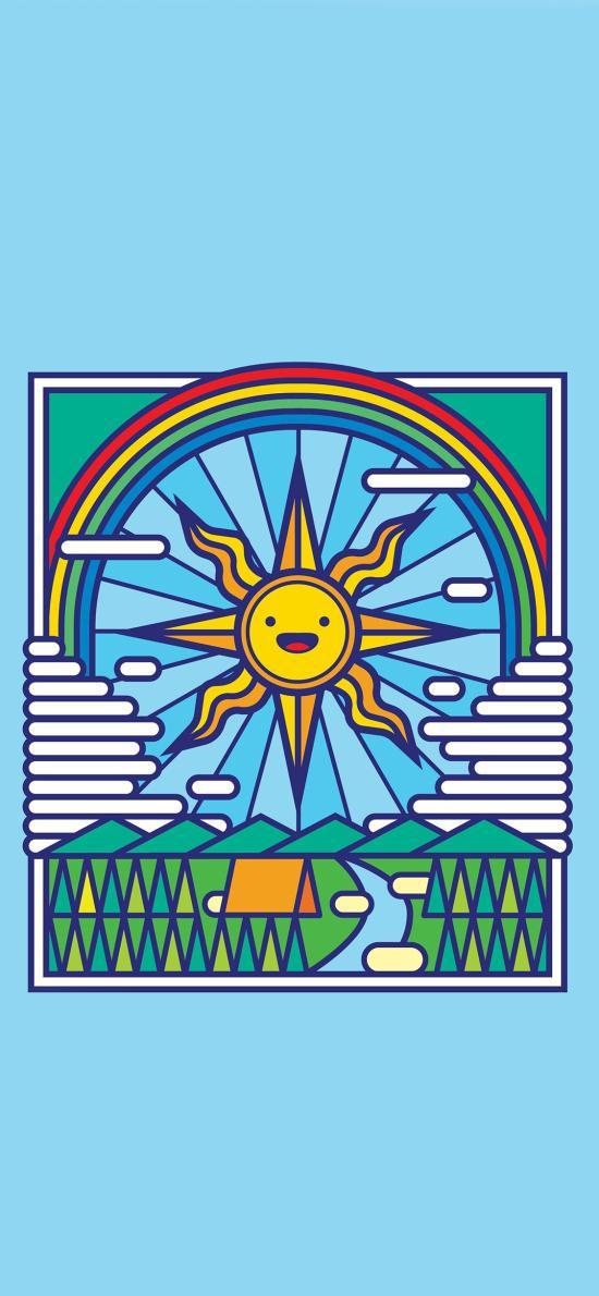 趣味 太阳 蓝底 笑