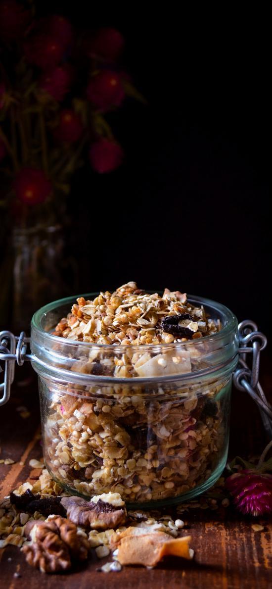 燕麦 杂粮 坚果 玻璃罐
