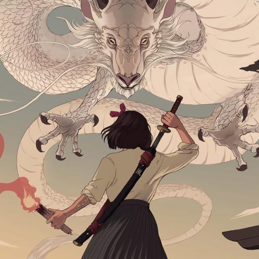 浮世绘 日本 绘画 龙 背影 剑