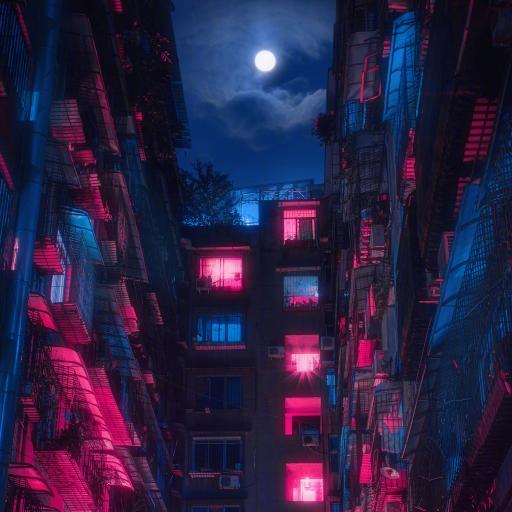楼房 住宅 夜晚 月亮 灯光