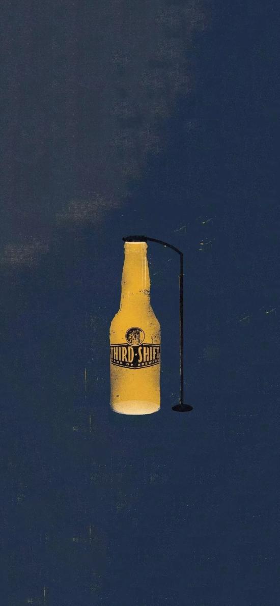 插图 手绘 啤酒 路灯 创意