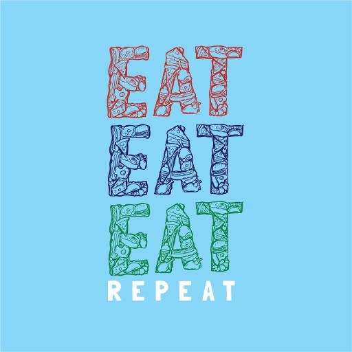 eat 蓝底 字母 repeat