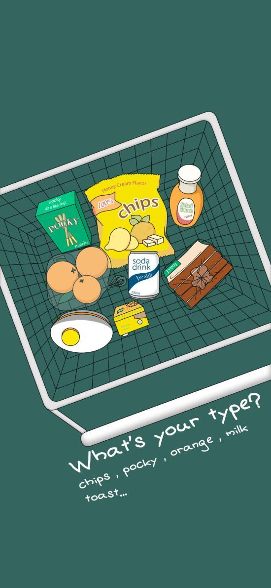 你是什么类型 薯片 牛奶 橙子 面包 插画