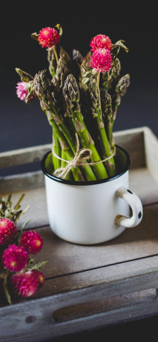 芦笋 食材 搪瓷杯 小花