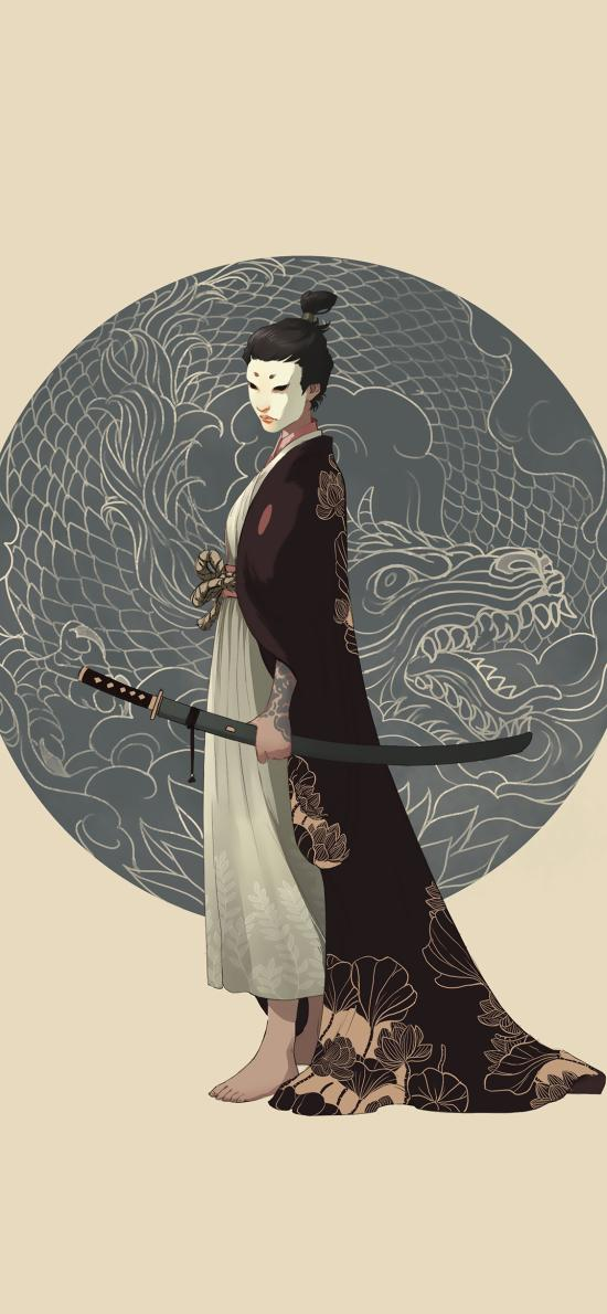 浮世绘 日系 和服 剑