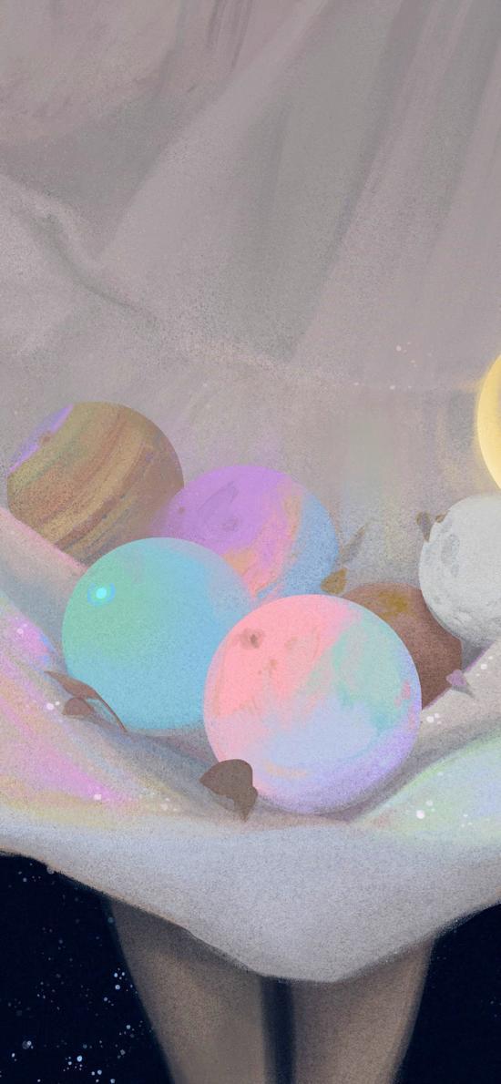 裙子 行星 插画 色彩 (取自站酷网:中下游)