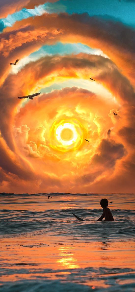 夕阳 炫彩 云彩 海边 海浪