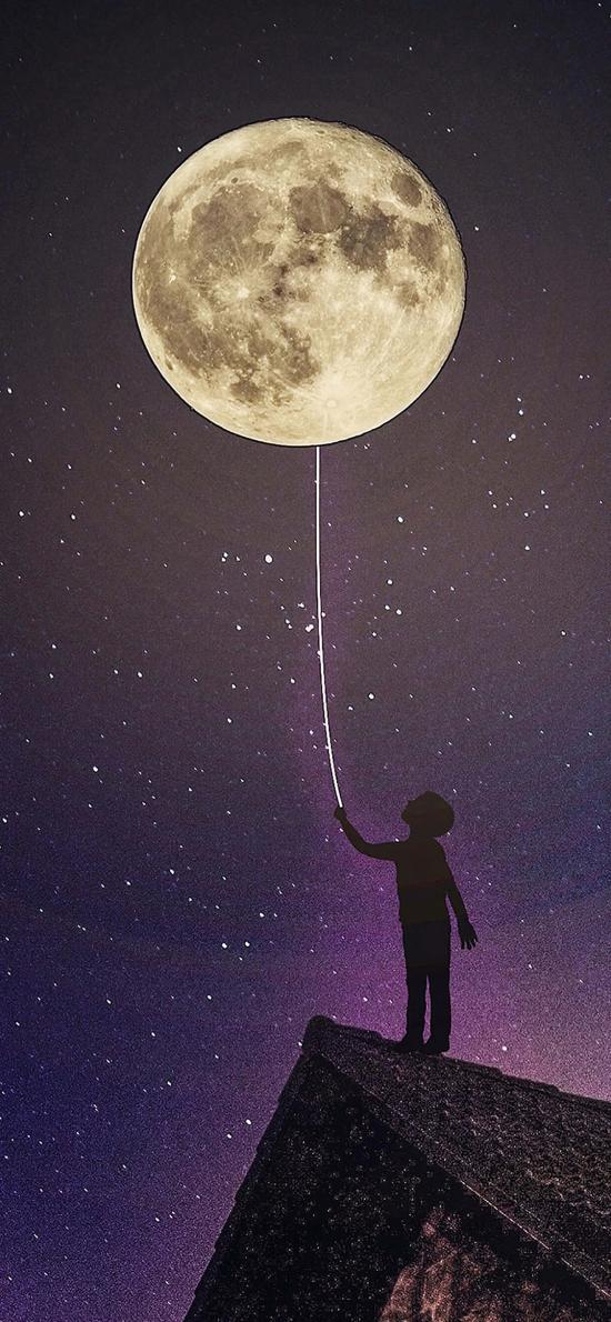 月球 星空 遐想 夜晚