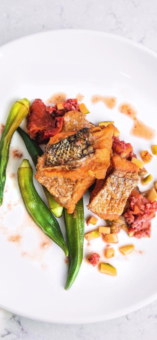 烹饪 秋葵 鱼肉 健康