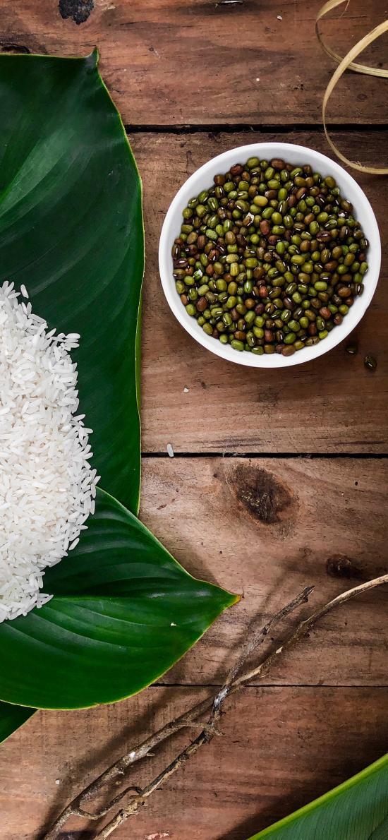 食材 杂粮 米粒 绿豆 叶子