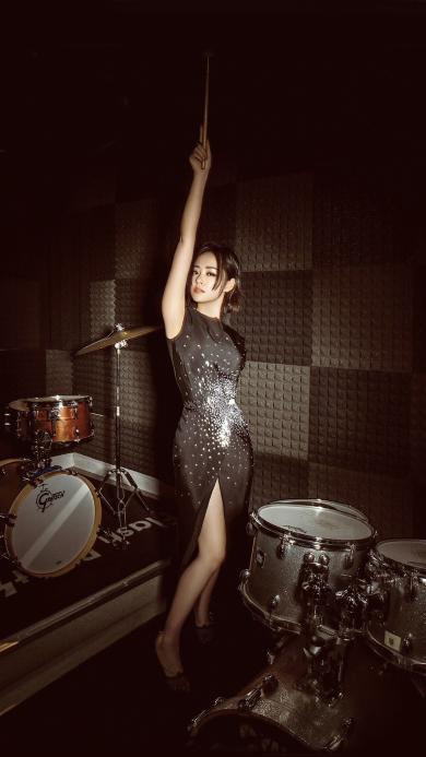 歌手 艺人 张靓颖 架子鼓