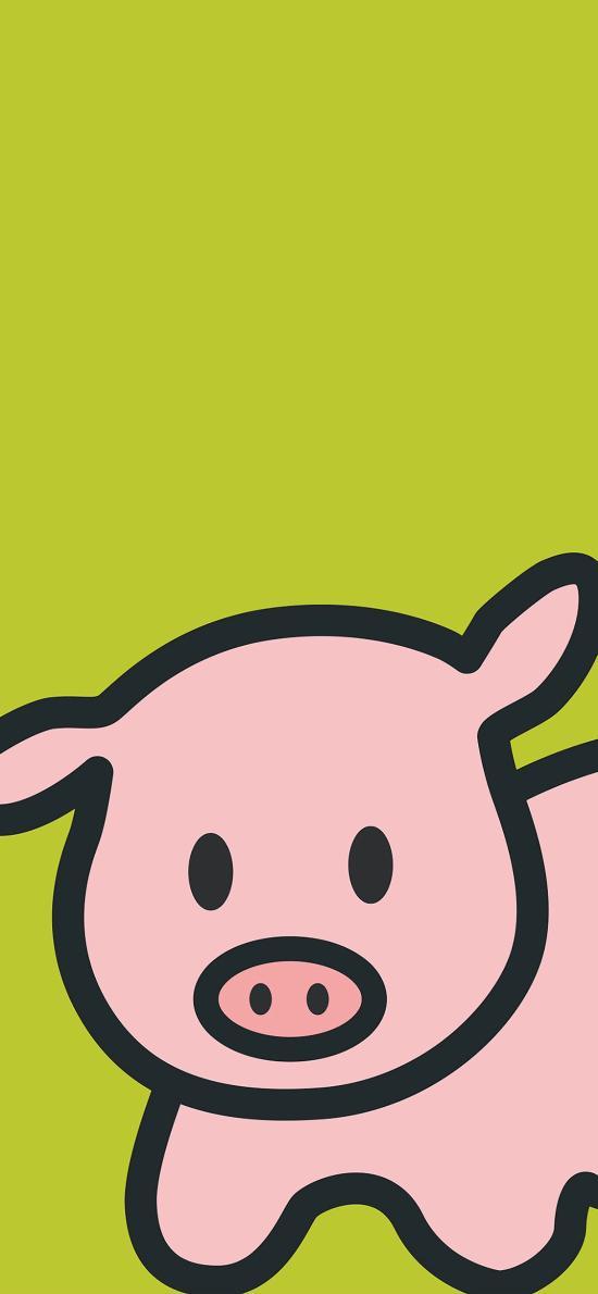 简笔画 pig 猪 绿色
