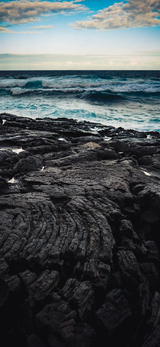 大海 浪花 翻涌 岩石