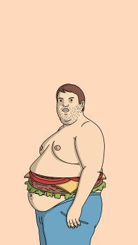 胖子 肥胖 汉堡 拟人