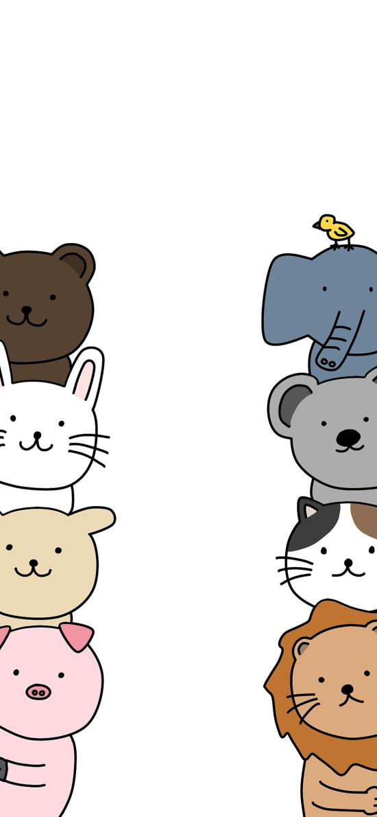 绘画 简约 猪 狮子 动物 可爱