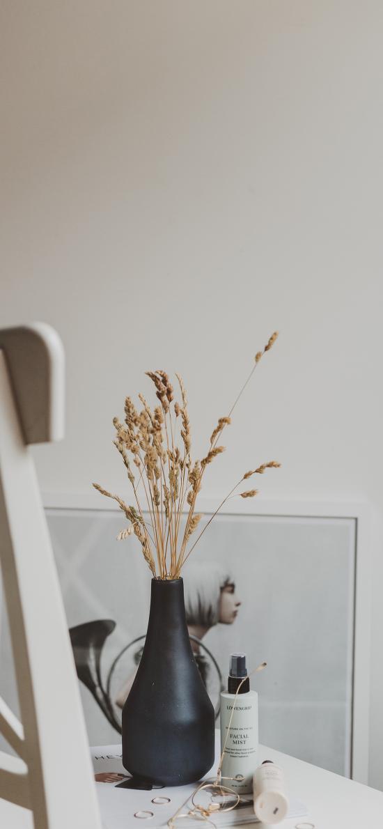 静物 花瓶 小麦 椅子 装饰