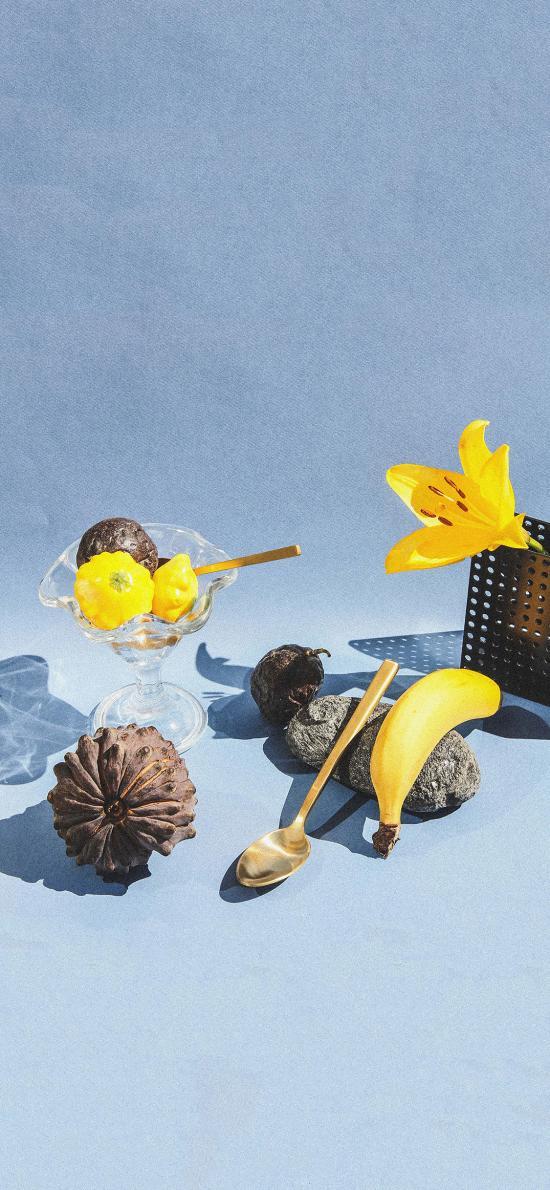 静物 香蕉 石头 勺子 百合花