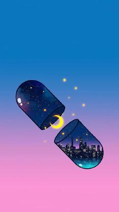 胶囊 插画 月亮 城市 星空