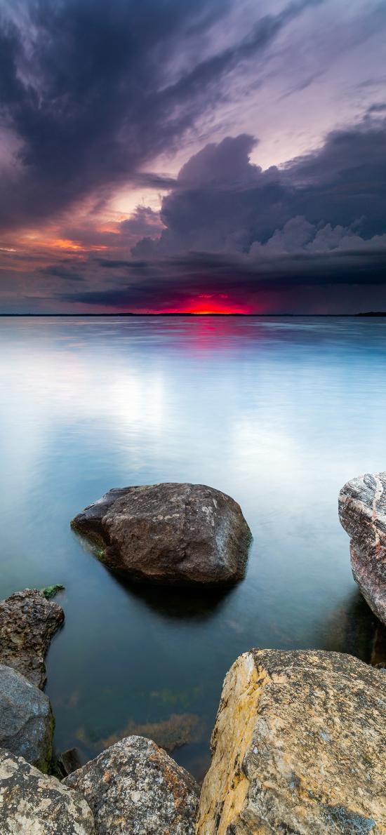 自然 湖泊 岩石 云空 美景