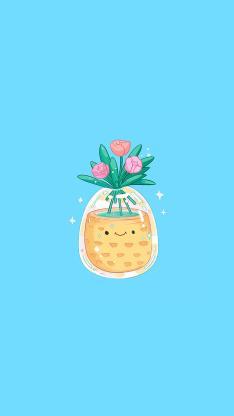 可爱 蓝 插画 郁金香