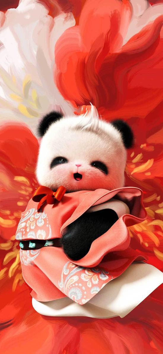 熊猫 牡丹 红 插画