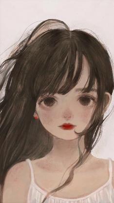 插画 女孩 绘画 水彩