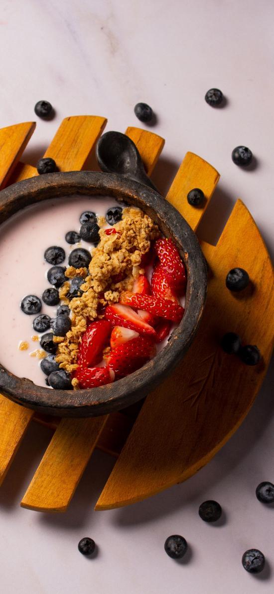 甜品 蓝莓 草莓 水果 健康