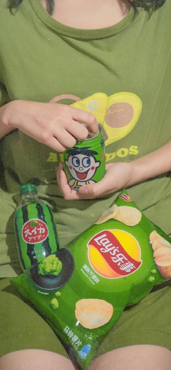 零食 乐事 薯片 旺仔 饮料 绿色
