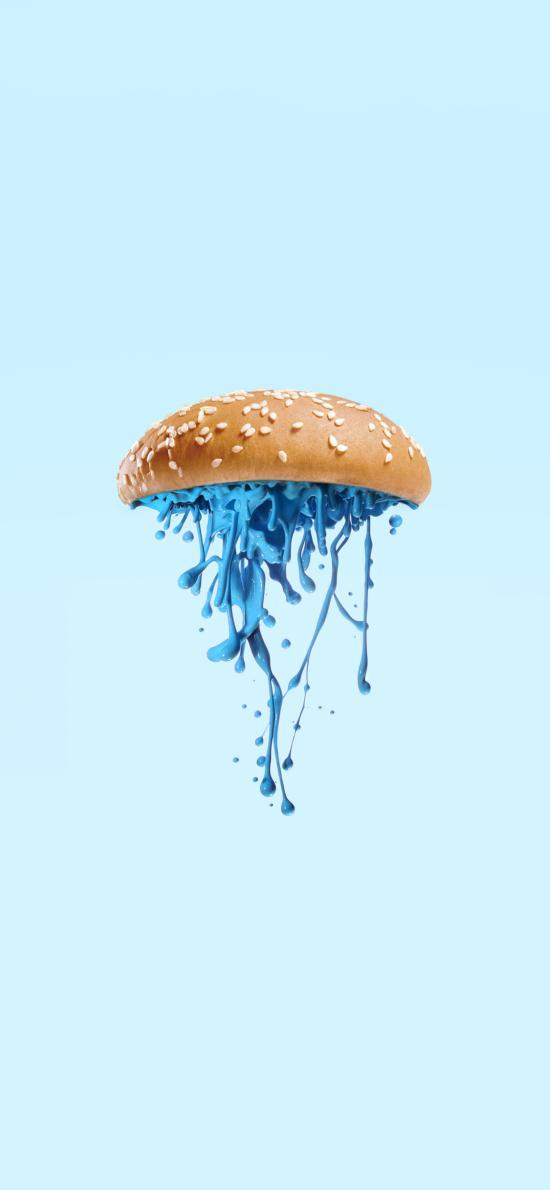 创意 摄影 汉堡 色彩 蓝色 液体