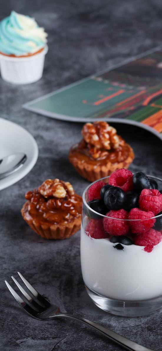 甜品 点心 水果 蓝莓 树莓