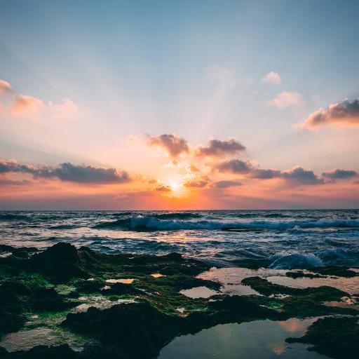 夕阳 阳光 大海 海浪