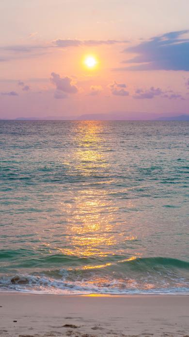夕阳 海平面 海水