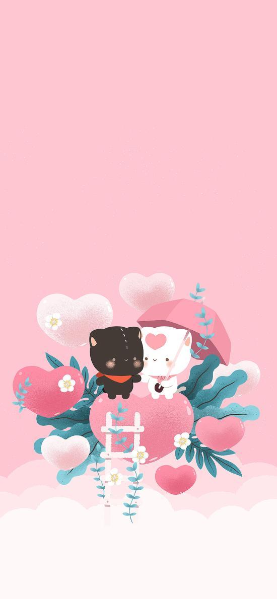 卡通 粉 七夕 爱心 可爱