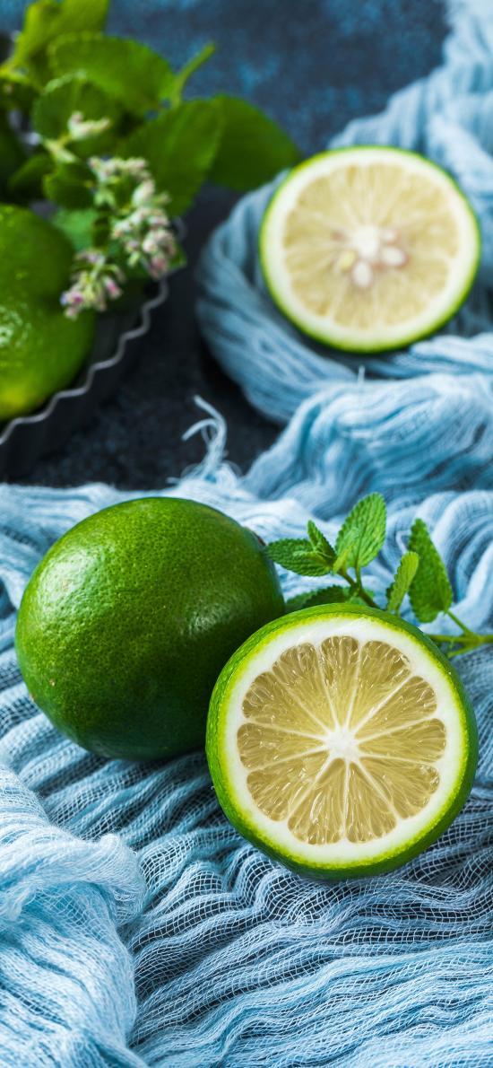 柠檬 青柠 水果 切半