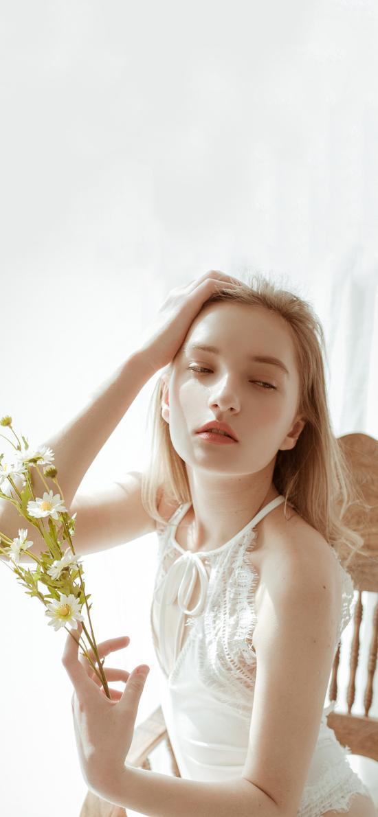 欧美 女孩 写真 鲜花