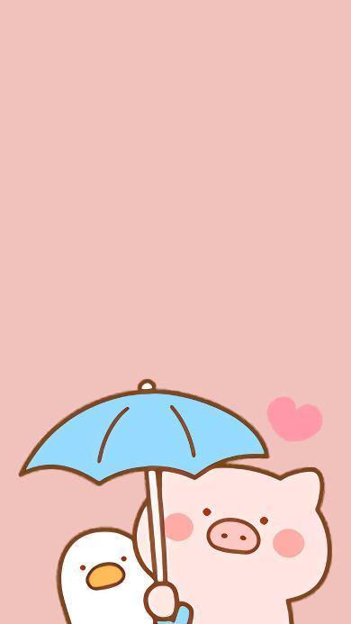 猪 粉色 可爱 卡通 爱心 撑伞