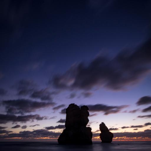 大海 岩石 云空 晚霞美景