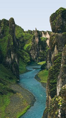 峡谷 河流 山谷 峭壁