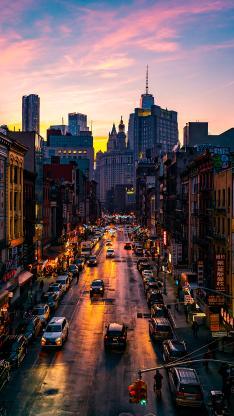 城市 街景 高楼 车辆