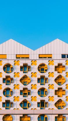 建筑 高楼 设计 黄色窗户