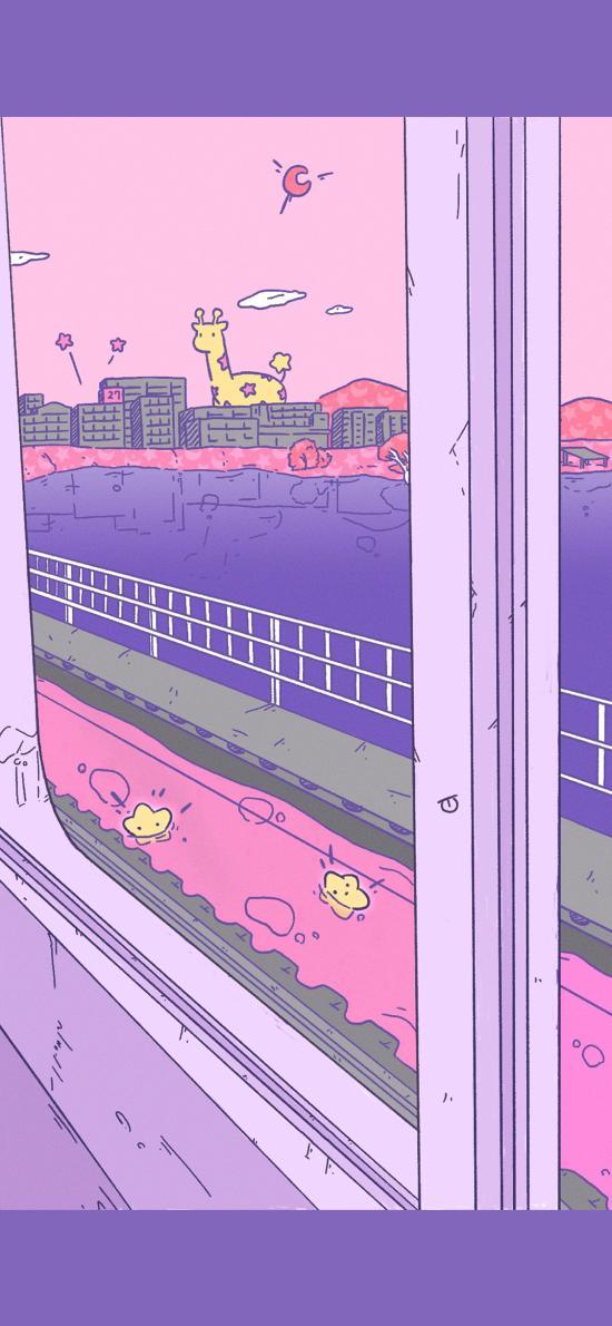 长颈鹿 插画 可爱 紫色 插画师:Cuna2